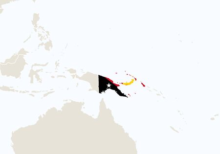 Nuova Guinea: Oceania with highlighted Papua New Guinea map. Vector Illustration.