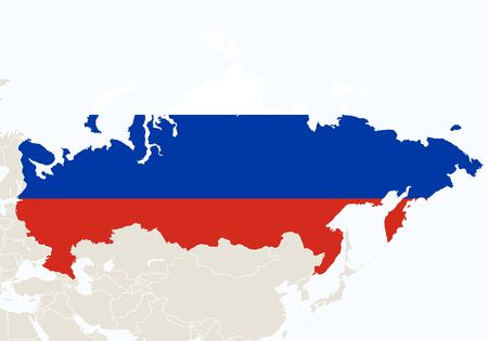 russia map: Asia with highlighted Russia map. Vector Illustration.