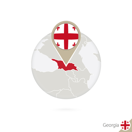 georgia flag: Georgia map and flag in circle. Map of Georgia, Georgia flag pin. Map of Georgia in the style of the globe. Vector Illustration.