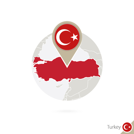 Turkey map and flag in circle. Map of Turkey, Turkey flag pin. Map of Turkey in the style of the globe. Vector Illustration.  イラスト・ベクター素材
