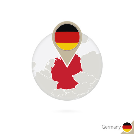 germany flag: Germany map and flag in circle. Map of Germany, Germany flag pin. Map of Germany in the style of the globe. Vector Illustration. Illustration