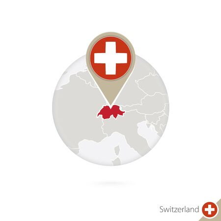 land mark: Switzerland map and flag in circle. Map of Switzerland, Switzerland flag pin. Map of Switzerland in the style of the globe. Vector Illustration.