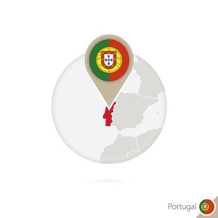 drapeau portugal: Portugal carte et drapeau dans le cercle. Carte du Portugal, Portugal épinglette du drapeau. Carte du Portugal dans le style du globe. Vector Illustration. Illustration