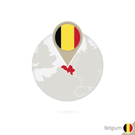 belgium flag: Belgium map and flag in circle. Map of Belgium, Belgium flag pin. Map of Belgium in the style of the globe. Vector Illustration.