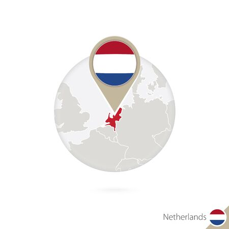 netherlands flag: Netherlands map and flag in circle. Map of Netherlands, Netherlands flag pin. Map of Netherlands in the style of the globe. Vector Illustration.