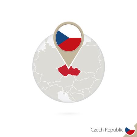 the czech republic: Czech Republic map and flag in circle. Map of Czech Republic, Czech Republic flag pin. Map of Czech Republic in the style of the globe. Vector Illustration.