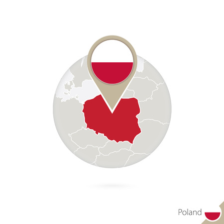 Poland map and flag in circle. Map of Poland, Poland flag pin. Map of Poland in the style of the globe. Vector Illustration. Stock Illustratie