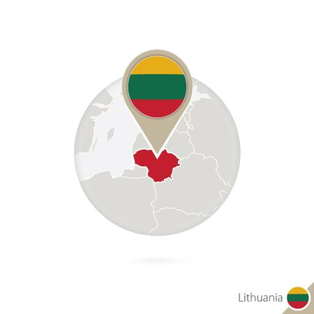 lithuania flag: Lithuania map and flag in circle. Map of Lithuania, Lithuania flag pin. Map of Lithuania in the style of the globe. Vector Illustration. Illustration
