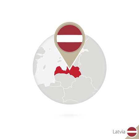 latvia flag: Latvia map and flag in circle. Map of Latvia, Latvia flag pin. Map of Latvia in the style of the globe. Vector Illustration. Illustration