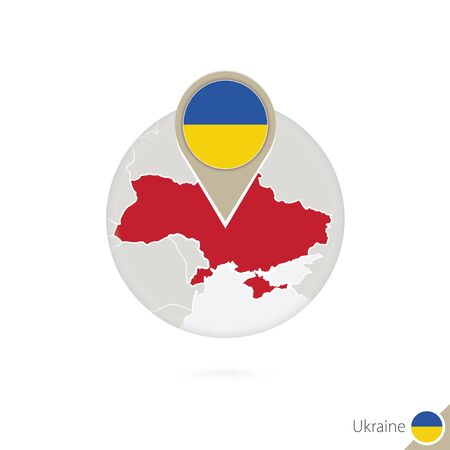 ukraine flag: Ukraine map and flag in circle. Map of Ukraine, Ukraine flag pin. Map of Ukraine in the style of the globe. Vector Illustration.