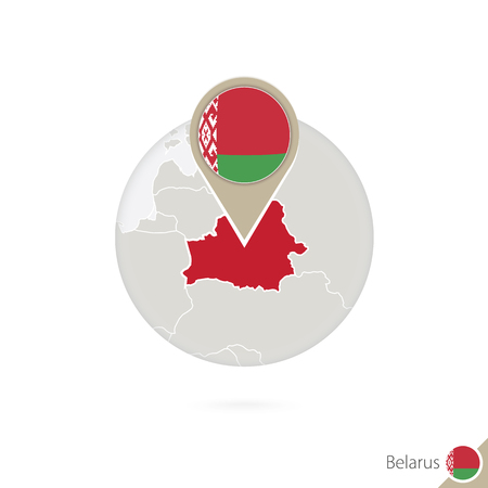 Belarus map and flag in circle. Map of Belarus, Belarus flag pin. Map of Belarus in the style of the globe. Vector Illustration.