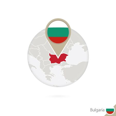 bulgaria flag: Bulgaria map and flag in circle. Map of Bulgaria, Bulgaria flag pin. Map of Bulgaria in the style of the globe. Vector Illustration.