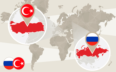 conflict: World map zoom on Turkey, Russia. Conflict. Turkey map with flag. Russia map with flag. Vector Illustration.