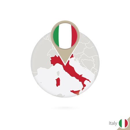land mark: Italy map and flag in circle. Map of Italy, Italy flag pin. Map of Italy in the style of the globe. Vector Illustration.