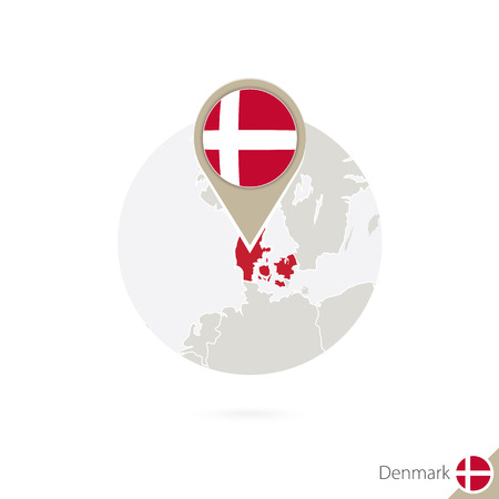 denmark flag: Denmark map and flag in circle. Map of Denmark, Denmark flag pin. Map of Denmark in the style of the globe. Vector Illustration.