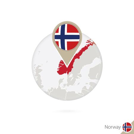 norway flag: Norway map and flag in circle. Map of Norway, Norway flag pin. Map of Norway in the style of the globe. Vector Illustration.