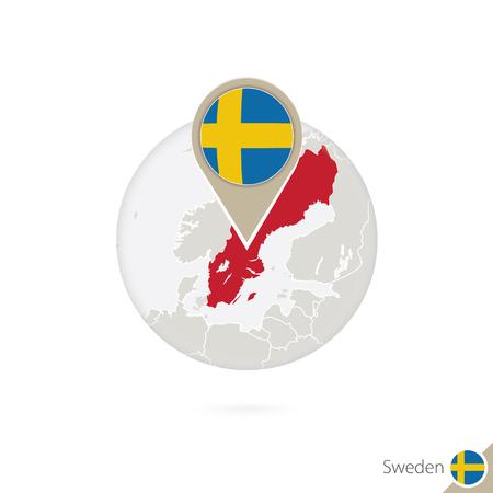sweden flag: Sweden map and flag in circle. Map of Sweden, Sweden flag pin. Map of Sweden in the style of the globe. Vector Illustration. Illustration