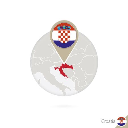 bandera de croacia: Croatia map and flag in circle. Map of Croatia, Croatia flag pin. Map of Croatia in the style of the globe. Vector Illustration. Vectores