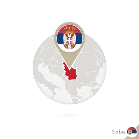 serbia flag: Serbia map and flag in circle. Map of Serbia, Serbia flag pin. Map of Serbia in the style of the globe. Vector Illustration.