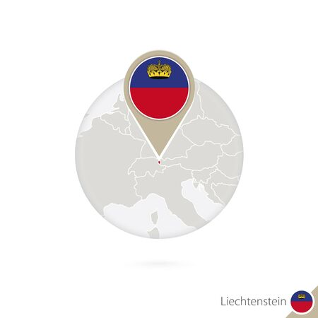 liechtenstein: Liechtenstein map and flag in circle. Map of Liechtenstein, Liechtenstein flag pin. Map of Liechtenstein in the style of the globe. Vector Illustration.