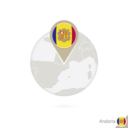 andorra: Andorra map and flag in circle. Map of Andorra, Andorra flag pin. Map of Andorra in the style of the globe. Vector Illustration. Illustration