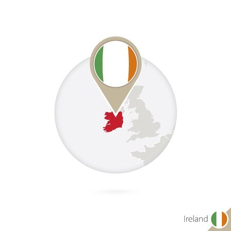 ireland flag: Ireland map and flag in circle. Map of Ireland, Ireland flag pin. Map of Ireland in the style of the globe. Vector Illustration.