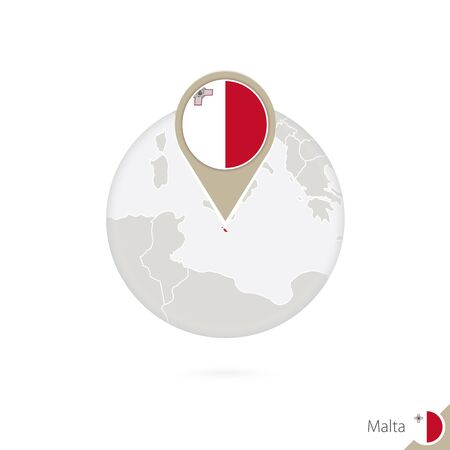 malta flag: Malta map and flag in circle. Map of Malta, Malta flag pin. Map of Malta in the style of the globe. Vector Illustration.
