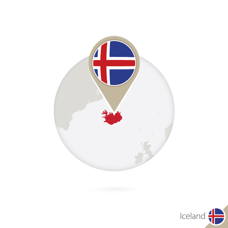 iceland flag: Iceland map and flag in circle. Map of Iceland, Iceland flag pin. Map of Iceland in the style of the globe. Vector Illustration.