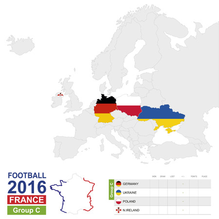 ireland map: Football 2016, Group C table. Group C highlighted on Europe map: Germany, Ukraine, Poland, Northern Ireland. Map of Europe. Vector Illustration.