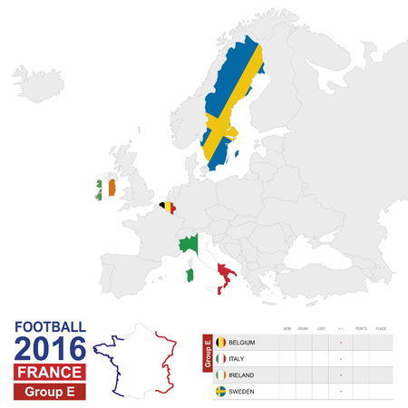 sweden map: Football 2016, Group E table. Group E highlighted on Europe map: Belgium, Italy, Ireland, Sweden. Map of Europe. Vector Illustration.