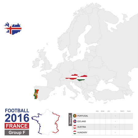 Football 2016, Group F table. Group F highlighted on Europe map: Portugal, Iceland, Austria, Hungary. Map of Europe. Vector Illustration.