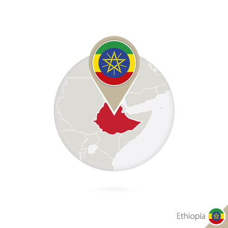 ethiopia  flag: Ethiopia map and flag in circle. Map of Ethiopia, Ethiopia flag pin. Map of Ethiopia in the style of the globe. Vector Illustration.