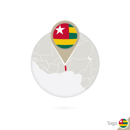 togo: Togo map and flag in circle. Map of Togo, Togo flag pin. Map of Togo in the style of the globe. Vector Illustration.