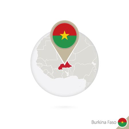 burkina faso: Burkina Faso map and flag in circle. Map of Burkina Faso, Burkina Faso flag pin. Map of Burkina Faso in the style of the globe. Vector Illustration.