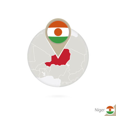land mark: Niger map and flag in circle. Map of Niger, Niger flag pin. Map of Niger in the style of the globe. Vector Illustration.