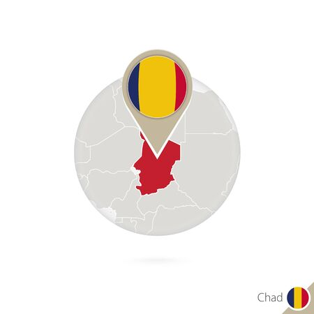chad flag: Chad map and flag in circle. Map of Chad, Chad flag pin. Map of Chad in the style of the globe. Vector Illustration.