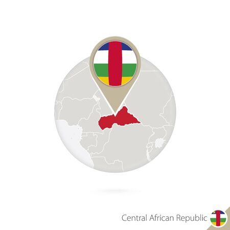 car flag: CAR map and flag in circle. Map of CAR, CAR flag pin. Map of CAR in the style of the globe. Vector Illustration. Illustration