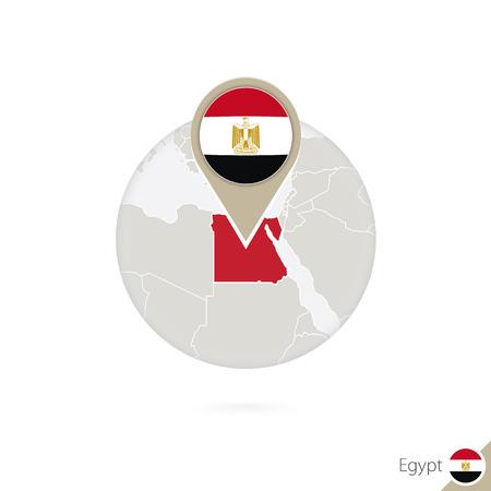 bandera de egipto: Egipto mapa y la bandera en círculo. Mapa de Egipto, Egipto pin de la bandera. Mapa de Egipto en el estilo del globo. Ilustración del vector.