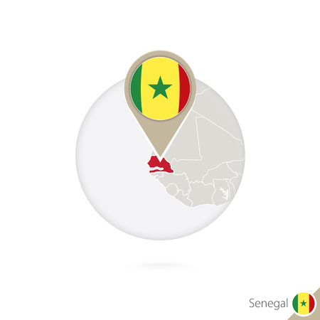 dakar: Senegal map and flag in circle. Map of Senegal, Senegal flag pin. Map of Senegal in the style of the globe. Vector Illustration. Illustration