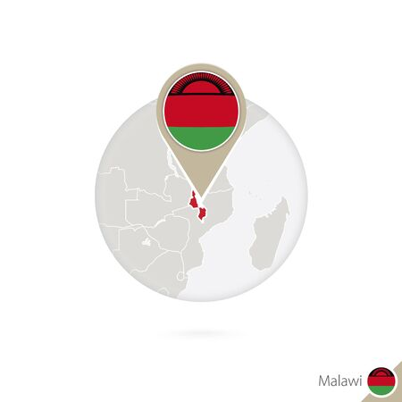 malawi flag: Malawi map and flag in circle. Map of Malawi, Malawi flag pin. Map of Malawi in the style of the globe. Vector Illustration. Illustration