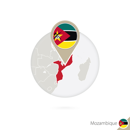 mozambique: Mozambique map and flag in circle. Map of Mozambique, Mozambique flag pin. Map of Mozambique in the style of the globe. Vector Illustration.