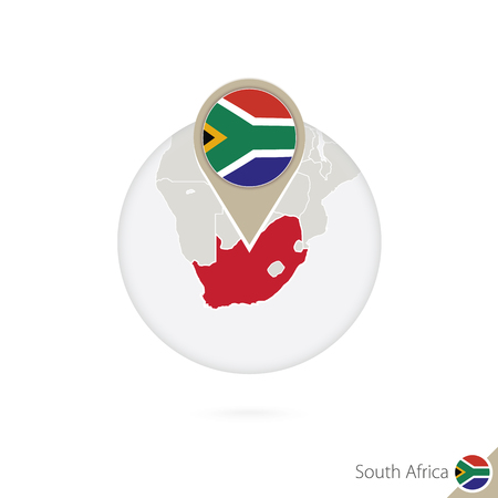 south africa flag: South Africa map and flag in circle. Map of South Africa, South Africa flag pin. Map of South Africa in the style of the globe. Vector Illustration.