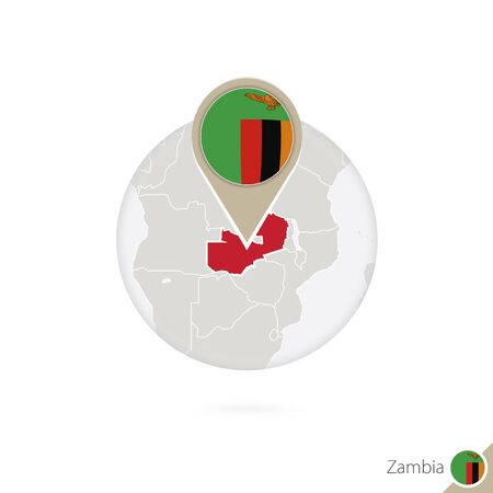 zambia flag: Zambia map and flag in circle. Map of Zambia, Zambia flag pin. Map of Zambia in the style of the globe. Vector Illustration.