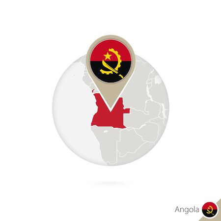 map of angola: Angola map and flag in circle. Map of Angola, Angola flag pin. Map of Angola in the style of the globe. Vector Illustration.