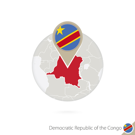dr: DR Congo map and flag in circle. Map of DR Congo, DR Congo flag pin. Map of DR Congo in the style of the globe. Vector Illustration. Illustration