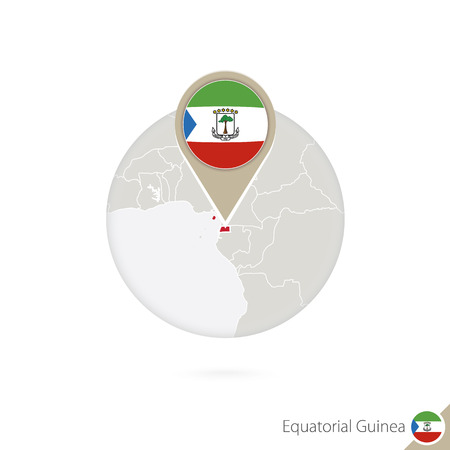 equatorial guinea: Equatorial Guinea map and flag in circle. Map of Equatorial Guinea, Equatorial Guinea flag pin. Map of Equatorial Guinea in the style of the globe. Vector Illustration. Illustration