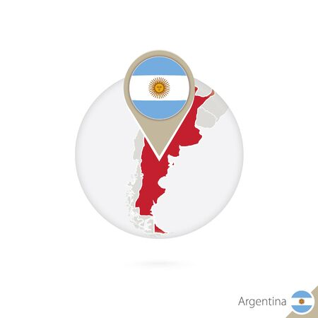argentina flag: Argentina map and flag in circle. Map of Argentina, Argentina flag pin. Map of Argentina in the style of the globe. Vector Illustration.