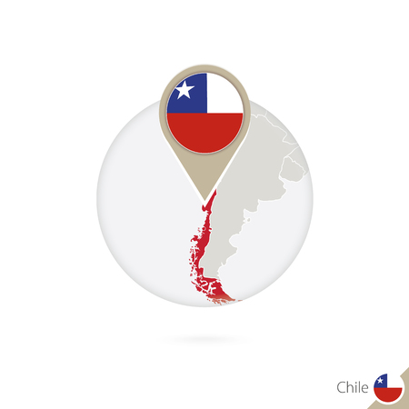 chile flag: Chile map and flag in circle. Map of Chile, Chile flag pin. Map of Chile in the style of the globe. Vector Illustration.