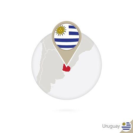 bandera de uruguay: Uruguay mapa y la bandera en círculo. Mapa de Uruguay, Uruguay pin de la bandera. Mapa de Uruguay en el estilo del globo. Ilustración del vector.