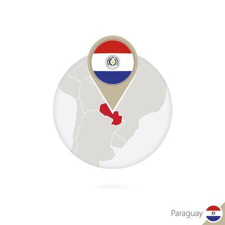 bandera de paraguay: Paraguay mapa y la bandera en c�rculo. Mapa de Paraguay, Paraguay pin de la bandera. Mapa de Paraguay en el estilo del globo. Ilustraci�n del vector. Vectores